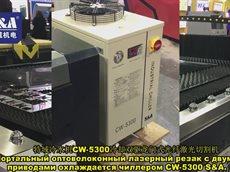 Портальный оптоволоконный лазерный резак с двумя приводами охлаждается чиллером CW-5300 S&A..mp4